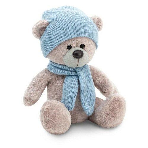 мягкая игрушка медведь choco сидячий в вязанной шапке с сердечками Мягкая игрушка Orange Toys Медведь Топтыжкин серый в шапке и шарфе 17 см