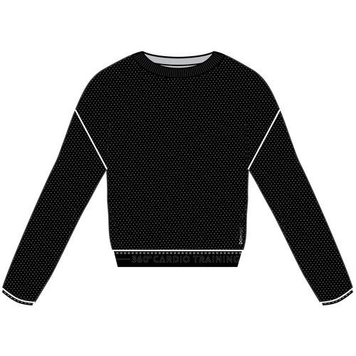 Толстовка с длинными рукавами для фитнеса женская короткая черная, размер: EU36 RU42, цвет: Черный/Черный DOMYOS Х Декатлон