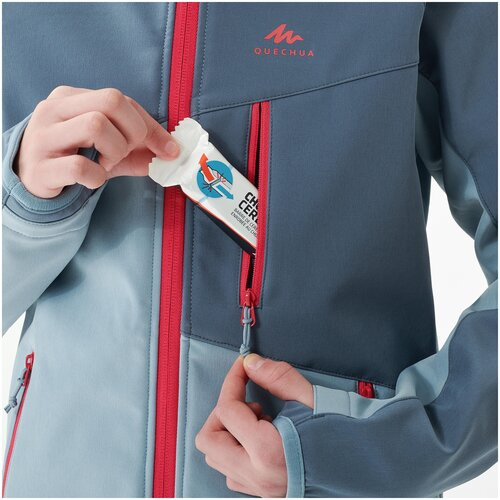 Куртка софтшелл для походов для детей 7–15 лет серо-синяя MH500, размер: 149-159CM12-13A, цвет: Балтийский Зелёный/Серо-Голубой QUECHUA Х Декатлон