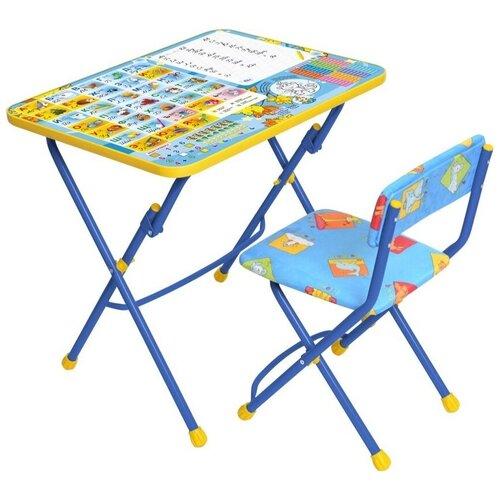 Купить Комплект Nika стол + стул Первоклашка: осень (КУ1/11) 60x45 см голубой/желтый, Парты и столы