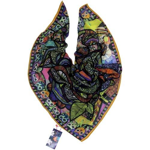 Платок женский шелковый, разноцветный, сезонный платок с арт-принтом Оланж Ассорти