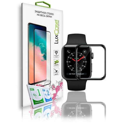 Защитное стекло для Apple Watch 42 мм / на Эппл Вотч 42 мм / На всю камеру / Полноклеевое / Черная рамка 033 мм