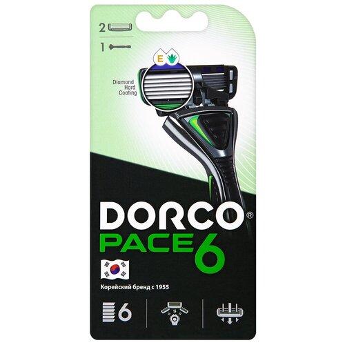 Бритвенный станок Dorco Pace 6, сменные кассеты 2 шт. бритвенный станок dorco pace 4 одноразовый 4 шт