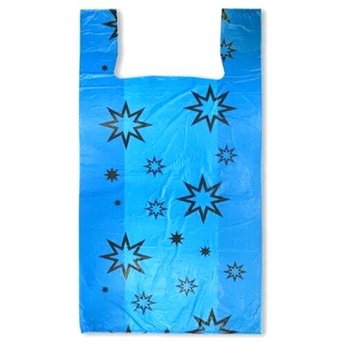 Пакет-майка OfficeClean Звезды, 30х60 см, 15 мкм голубой 100 шт.