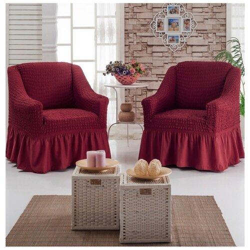 Набор чехлов на 2 кресла, цвет бордовый