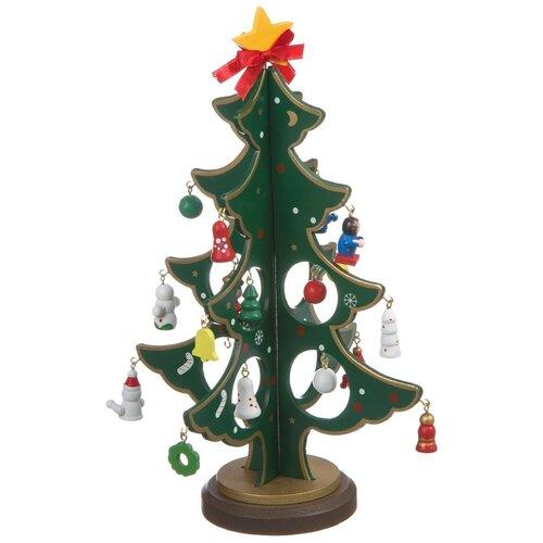 Фигурка BONDIBON Деревянная ёлочка 3D с игрушками 25 см зеленый недорого