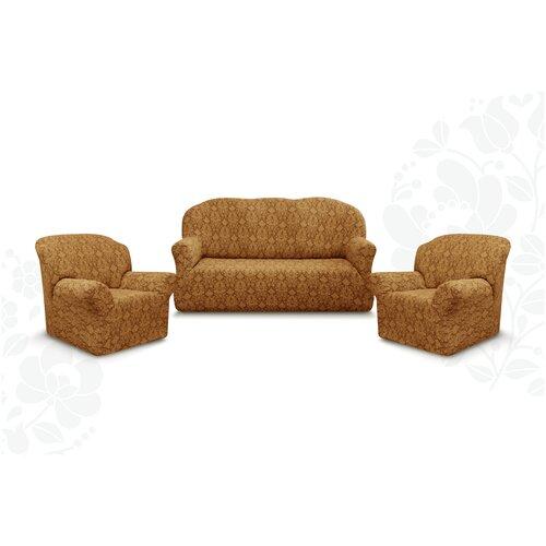 Чехлы без оборки Евро Престиж дизайн 10027 на Диван+2 Кресла, кофе с молоком