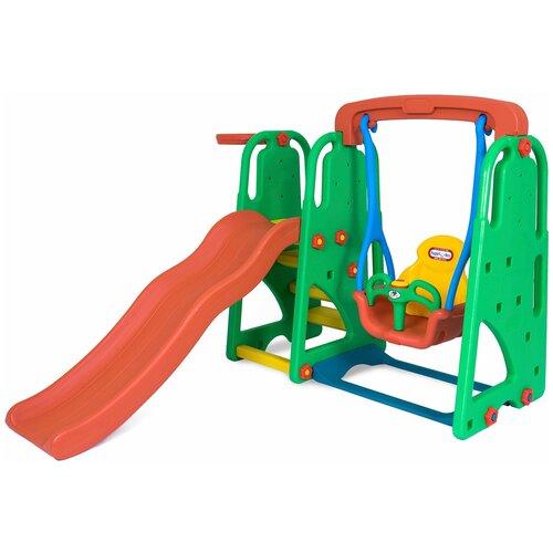 Детский игровой комплекс Happy Box JM-701Е для дома и улицы: детская горка-волна, баскетбольное кольцо с мячом, детские качели (производитель Южная Корея)