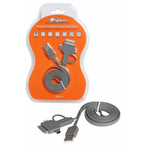 зарядный универсальный датакабель рулетка 3 в 1 airline ach 3r 15 Зарядный универсальный датакабель 4 в 1 miniUSB/microUSB/для Iphone