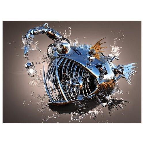 Купить Алмазная вышивка Яркие Грани Рыба-панк , размер 50х38 см, (200х150 кристаллов), 51 цвет