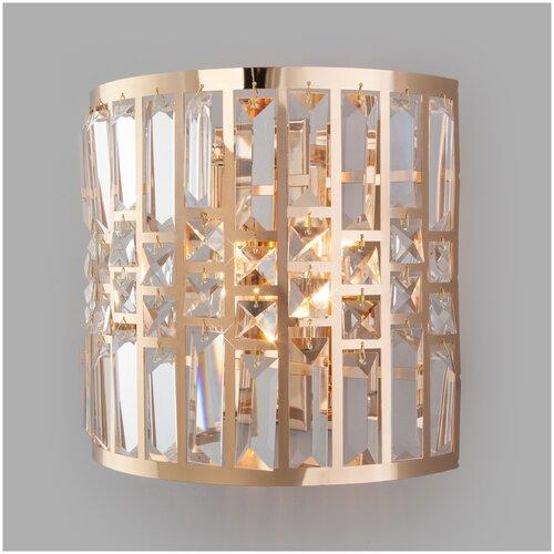 Настенный светильник Eurosvet Lory 10116/2 золото/прозрачный хрусталь Strotskis, 120 Вт