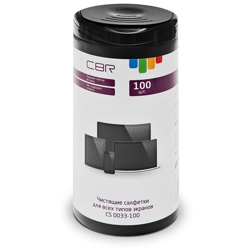 Фото - CBR CS 0033-100 влажные салфетки 100 шт. для экрана салфетки влажные для экранов favorit offic f130001 screen clean 100шт