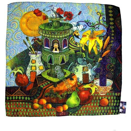 Платок женский шелковый, голубой, жёлтый, зелёный, сезонный платок с арт-принтом Оланж Ассорти