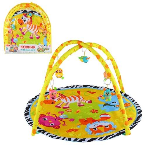 Детский коврик развивающий для малышей Smart Baby с подвесками-погремушками, коврик для ползания детский, коврик для детей, игровой коврик детский, коврик для малышей, коврик для ребенка, коврик для детей игровой, мягкий, размер 85 х 85 см, желтый