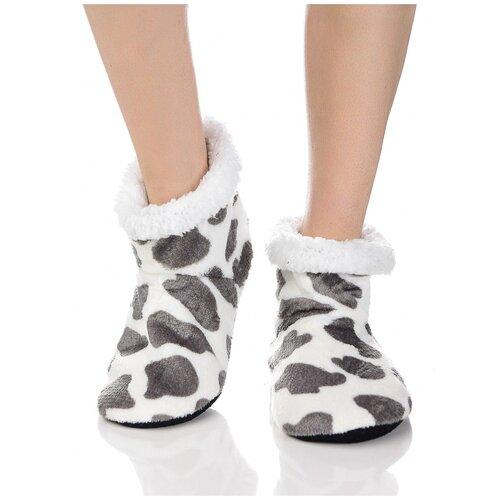 Плюшевые носки домашние, коровий принт, противоскользящая подошва, внутренний подклад из искусственного меха, белый-серый цвет, размер 36-38