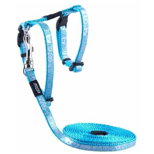 Комплект Rogz SparkleCat XS CLJ252 (поводок + шлейка) голубой