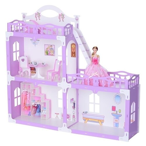 Домик для кукол Krasatoys Анна бело-сиреневый, с мебелью (000269)