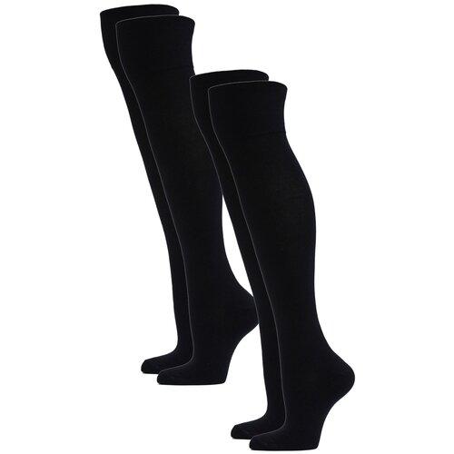 Гольфы женские повседневные HOSIERY 75617 р 23-25 (36-39 размер ноги) черные 2 пары