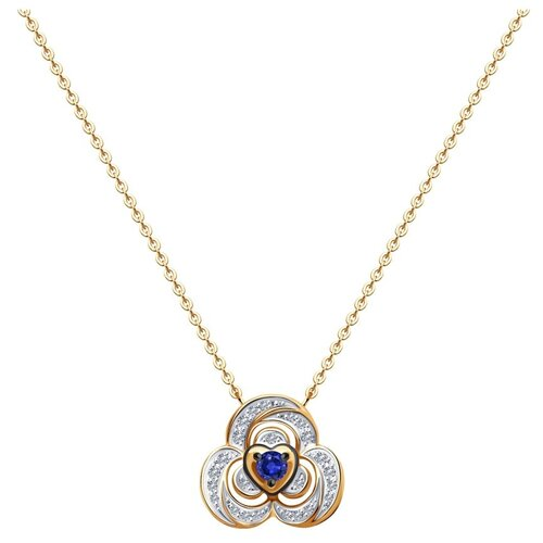 SOKOLOV Колье из золота с бриллиантами и сапфиром 2070020, 40 см, 3.51 г