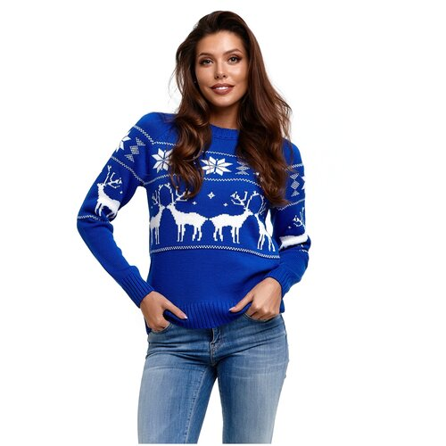 Женский свитер, классический скандинавский орнамент с Оленями и снежинками, натуральная шерсть, васильковый цвет, размер L