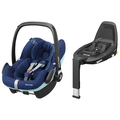 Автокресло-переноска группа 0+ (до 13 кг) Maxi-Cosi Pebble Pro i-Size + Family Fix 3, essential blue автокресло maxi cosi pebble pro i size frequency black черный