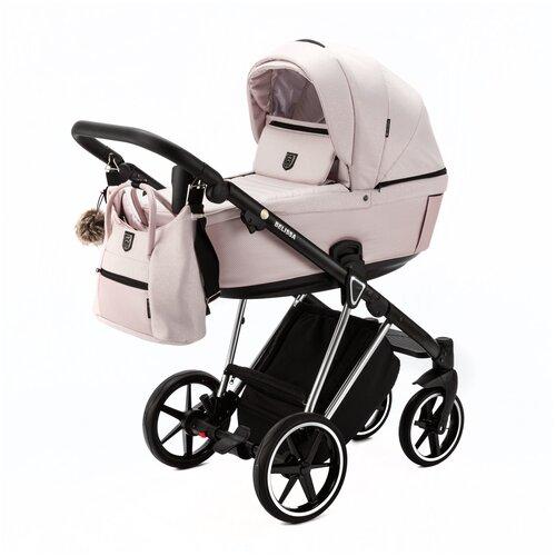 Купить Коляска универсальная Adamex Belissa Special Edition 3 в 1, PS-590 - светло-розовая с блестками, светло-розовая перламутр кожа, хром рама, Коляски