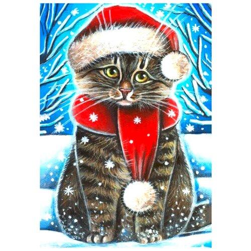 Фото - Алмазная мозаика Новогодний котик, 19x27 см 3572058 алмазная мозаика для детей котик емкость стержень с клеевой подушечкой