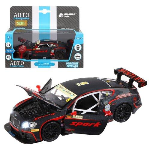 Купить Машинка детская, металлическая, инерционная, Автопанорама, коллекционная, 1:32 Bentley Continental GT3, черный, свет, звук, открывающиеся двери, Машинки и техника