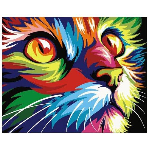 Купить Картина по номерам на холсте 40x50см Colibri Радужный кот (VA-0126), Картины по номерам и контурам