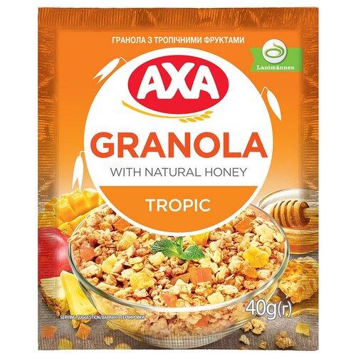Фото - Гранола AXA с тропическими фруктами, пакет, 40 г мюсли axa muesli crispy хрустящие медовые хлопья и шарики с тропическими фруктами коробка 270 г