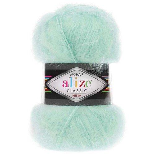 Купить Пряжа для вязания Alize 'Mohair classic new' 100гр. 200м (25%мохер, 24%шерсть, 51%акрил) (522 мята), 5 мотков