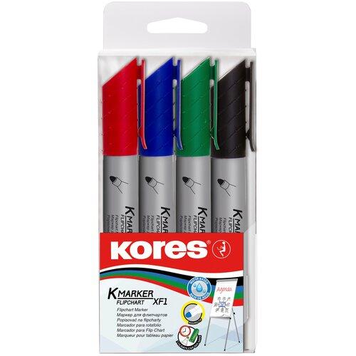 Купить Набор для бумаги маркеров для флипчартов Kores XF1 4 штуки (толщина линии 3 мм), Маркеры