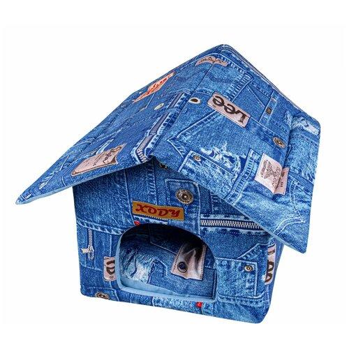 Фото - Домик для собак и кошек XODY Будка 1 хлопок Джинс 30х30х32 см синий домик для собак и кошек xody эстрада джинс 1 хлопок 41 х 36 х 30 см 1 шт
