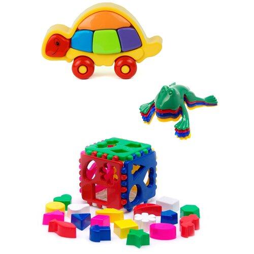 Купить Сортер Karolina toys Логическая черепашка + Кубик логический большой + Команда КВА №1, Сортеры