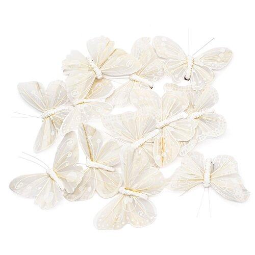 Купить LY170130/1-6 Бабочки с клипсой 9см белый Астра, 12 шт, Astra & Craft, Декоративные элементы и материалы