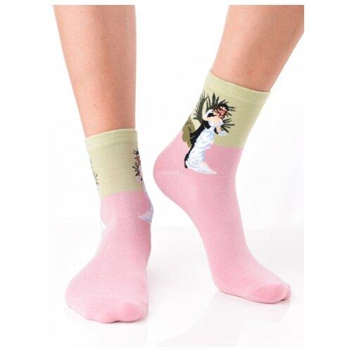 Яркие цветные носки унисекс, прикольные красочные носки/ Модные розовые носки с рисунком/ Высокие носки из натурального хлопка с картиной Ренуар