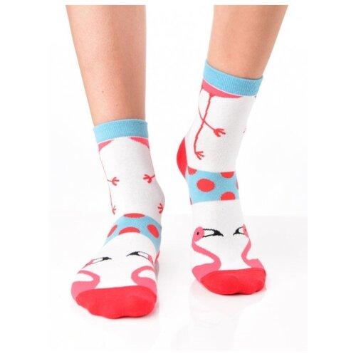 Яркие цветные носки унисекс, прикольные красочные носки/ Модные носки с рисунком/ Носки из натурального хлопка с рисунком Фламинго в горошек