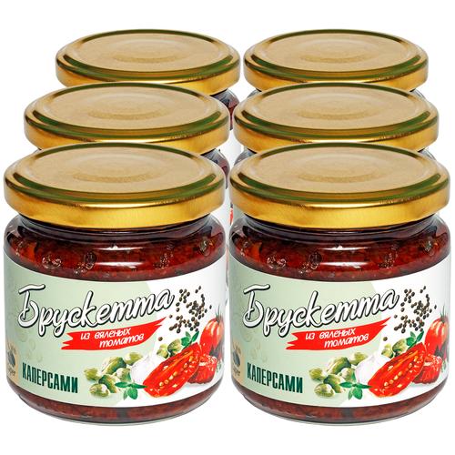 Фото - Брускетта из вяленых томатов с каперсами, 190г х 6шт ECOFOOD tomtom брускетта из вяленых томатов с кедровыми орешками 140 г