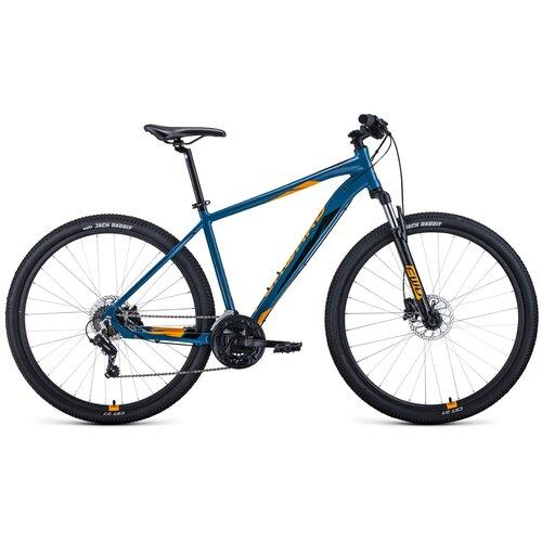 """Горный (MTB) велосипед FORWARD Apache 29 3.2 Disc (2021) бирюзовый/оранжевый 17"""" (требует финальной сборки)"""
