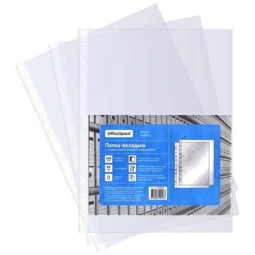 Купить OfficeSpace Папка-вкладыш с перфорацией А4, 22-25 мкм, глянцевая, 100 шт прозрачный, Файлы и папки