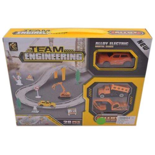 Игровой набор Автотрек, в комплекте: деталей 28шт, транспорт металлический 2шт, Машина электрифицированная, эл.пит.АА*1шт.не вх.в комплект Shantoy Gepay 696-3A