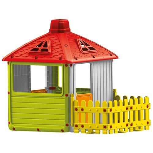 Домик Dolu City House с забором 3011, красный/зеленый/желтый недорого