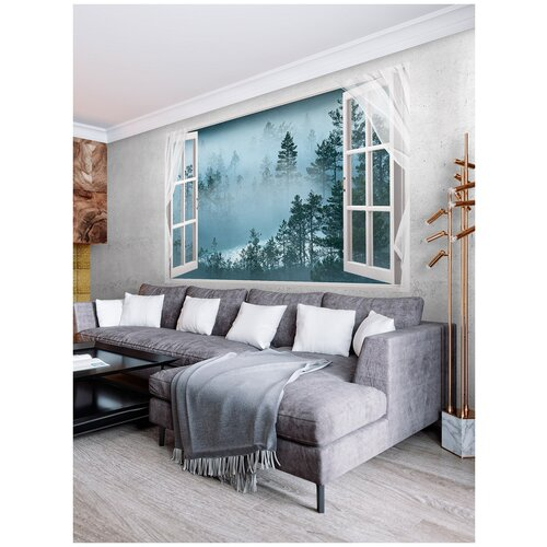 Фотообои Открытое окно с видом на лес в тумане/ Красивые уютные обои на стену в интерьер комнаты/ 3Д расширяющие пространство над кроватью или над столом/ На кухню в спальню детскую зал гостиную прихожую/ размер 200х129см/ Флизелиновые