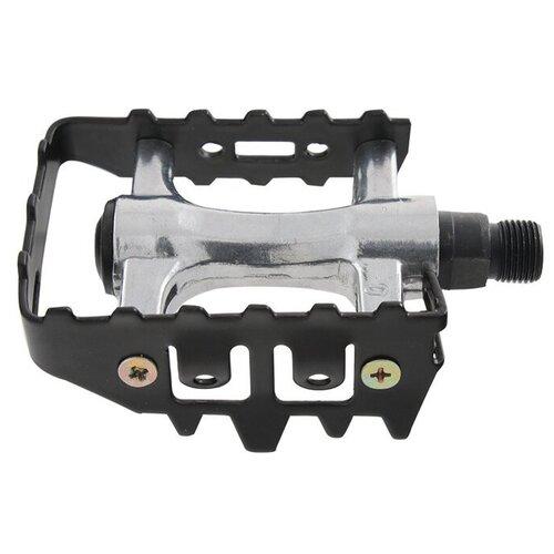 Педали для велосипеда алюминиевые с алюминиевые ободом серебристо-черные Horst