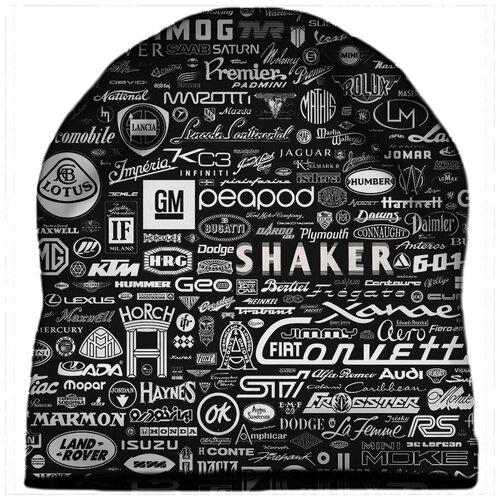Шапка мужская Логотипы тачек на черном фоне