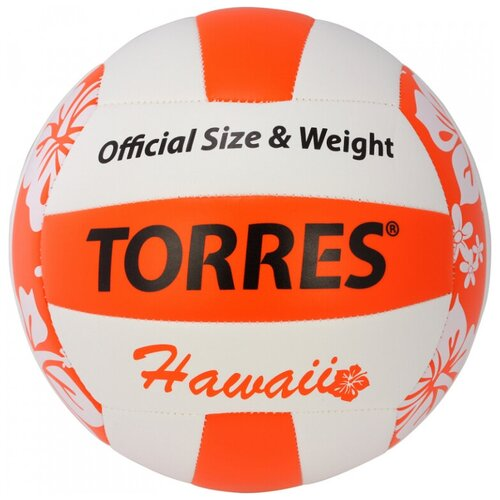 Волейбольный мяч TORRES Hawaii белый/оранжевый