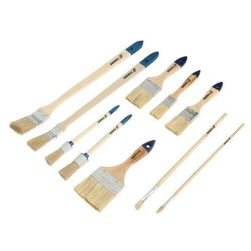 Набор кистей TUNDRA, плоские, круглые, радиаторные, для масляной краски, 10 шт. 4132610