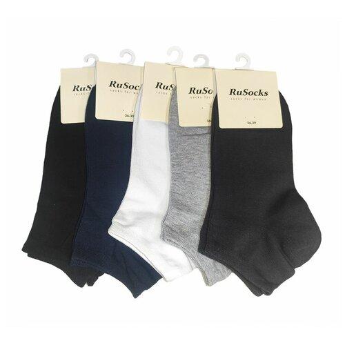Комплект коротких женских носков из хлопка темных цветов, 5 шт, р-р 36-39