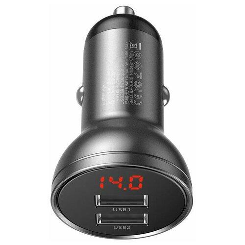 Фото - Автомобильное зарядное устройство Baseus Digital Display Dual USB 4.8A 24W (CCBX-0G), темно-серое автомобильная зарядка baseus digital display dual usb 4 8a 24w car charger vcbxa ccbx 0g ccbx 0s