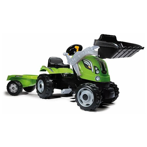 Веломобиль Smoby Трактор педальный строительный XL с прицепом, зеленый